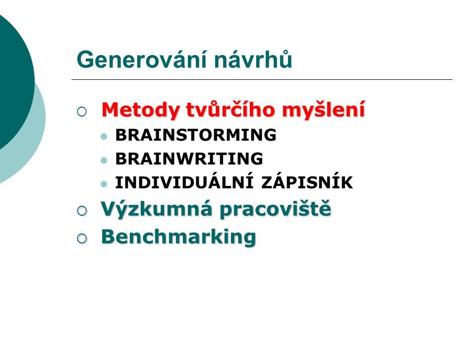 Generování návrhů Metody tvůrčího myšlení  Metody tvůrčího myšlení BRAINSTORMING BRAINWRITING INDIVIDUÁLNÍ ZÁPISNÍK  Výzkumná pracoviště  Benchmark