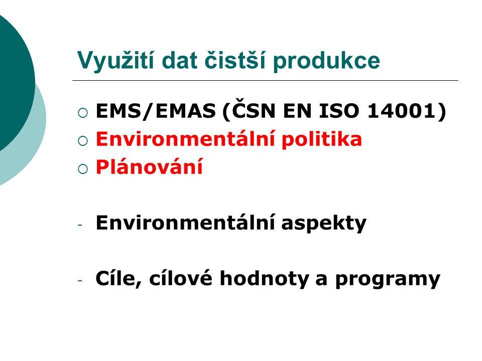 Využití dat čistší produkce  EMS/EMAS (ČSN EN ISO 14001)  Environmentální politika  Plánování - Environmentální aspekty - Cíle, cílové hodnoty a pr