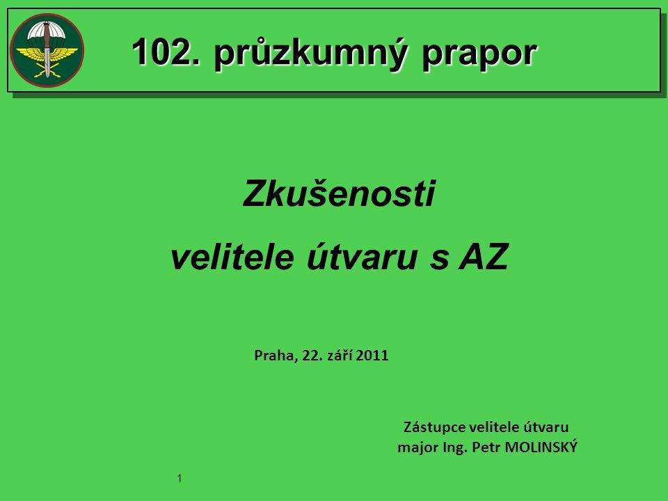 102.průzkumný prapor Zkušenosti velitele útvaru s AZ Praha, 22.