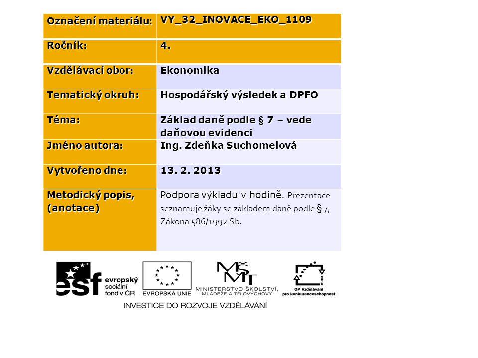 Označení materiálu : VY_32_INOVACE_EKO_1109Ročník:4.