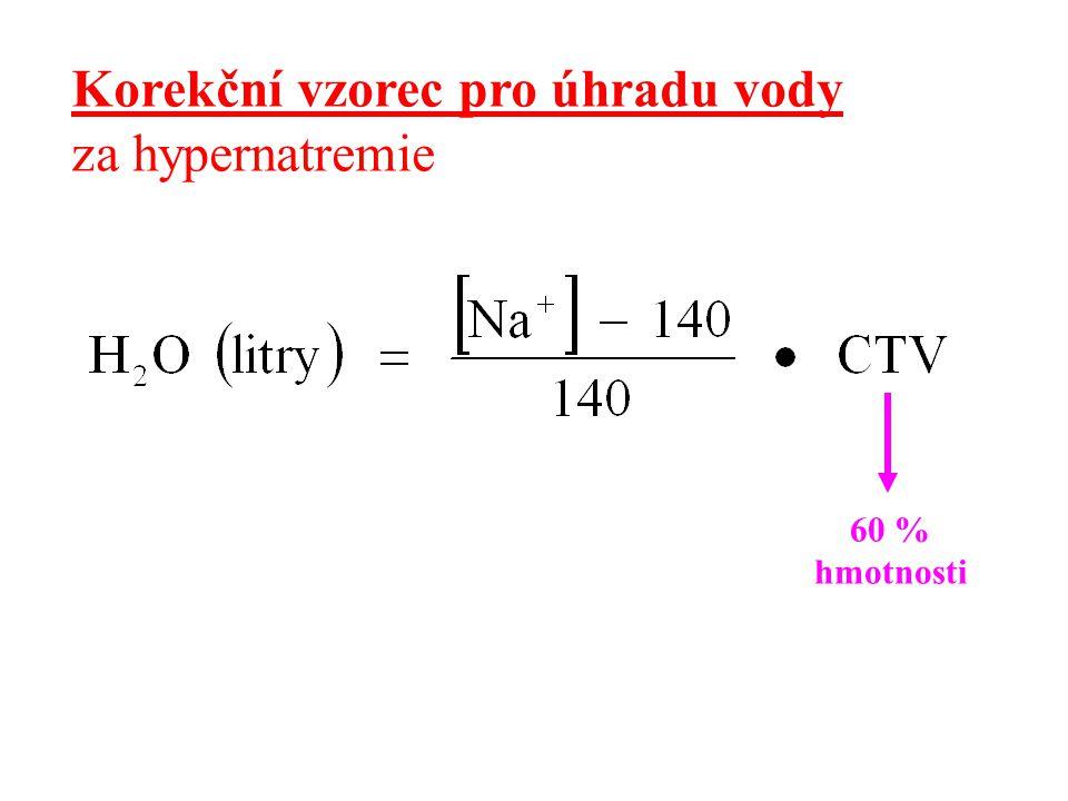 Korekční vzorec pro úhradu vody za hypernatremie 60 % hmotnosti
