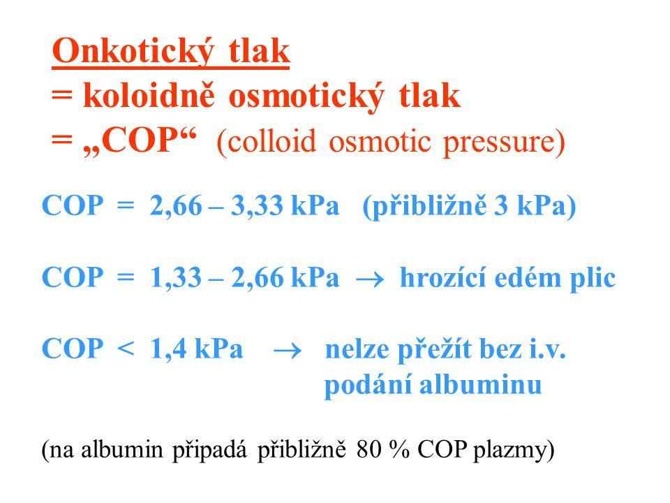 """Onkotický tlak = koloidně osmotický tlak = """"COP (colloid osmotic pressure) COP = 2,66 – 3,33 kPa (přibližně 3 kPa) COP = 1,33 – 2,66 kPa  hrozící edém plic COP < 1,4 kPa  nelze přežít bez i.v."""