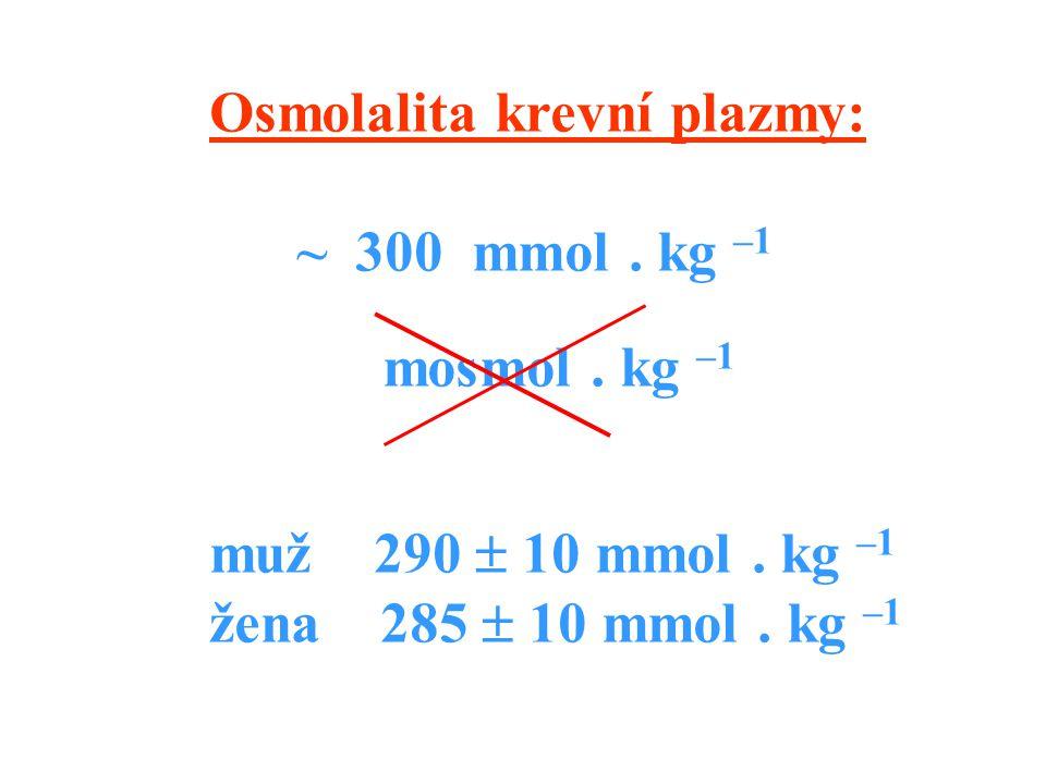 Osmolalita krevní plazmy: ~ 300 mmol.kg –1 mosmol.