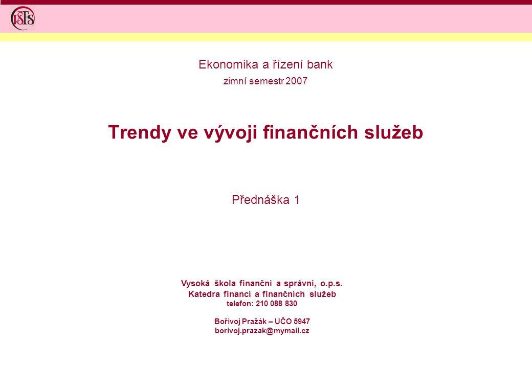 2 Jednosemestrální předmět Ekonomika a řízení bank je zaměřen na výklad principů a metod, které jsou používány v praxi řízení vybraných typů finančních institucí Organizace výuky: –přednáška 2 hodiny týdně – pondělí 10:30 – 12:00, místnost E 027 –cvičení 1 hodina týdně, probíhá způsobem 2 hodiny každý sudý týden – pondělí 12:15 – 13:45, místnost E 122 –zápočet – test na závěr semestru, případně semestrální práce –ústní zkouška Literatura: –ZIEGLER a spol: Finanční řízení bank –SOKOLOVSKÝ Zdeněk.