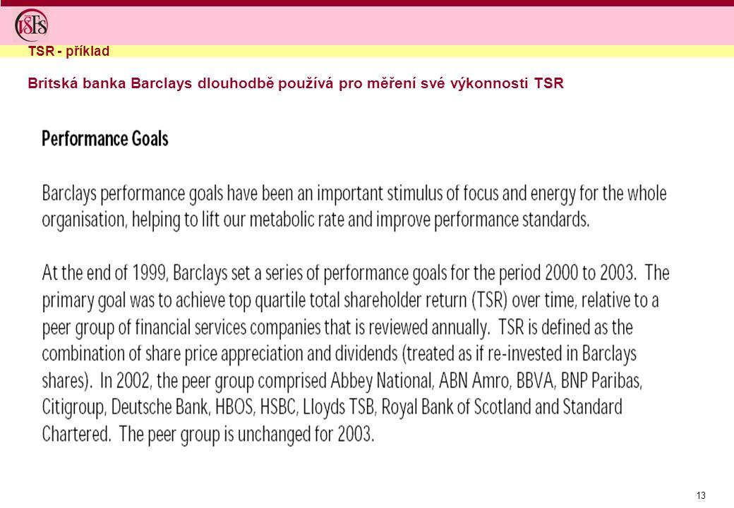13 Britská banka Barclays dlouhodbě používá pro měření své výkonnosti TSR TSR - příklad
