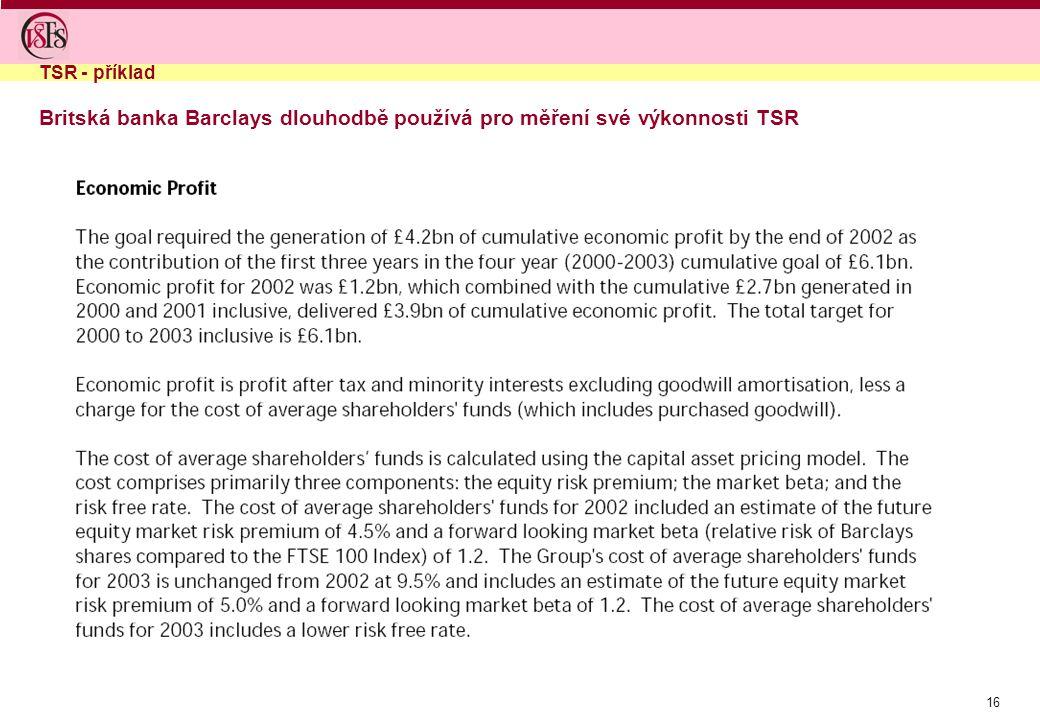 16 Britská banka Barclays dlouhodbě používá pro měření své výkonnosti TSR TSR - příklad