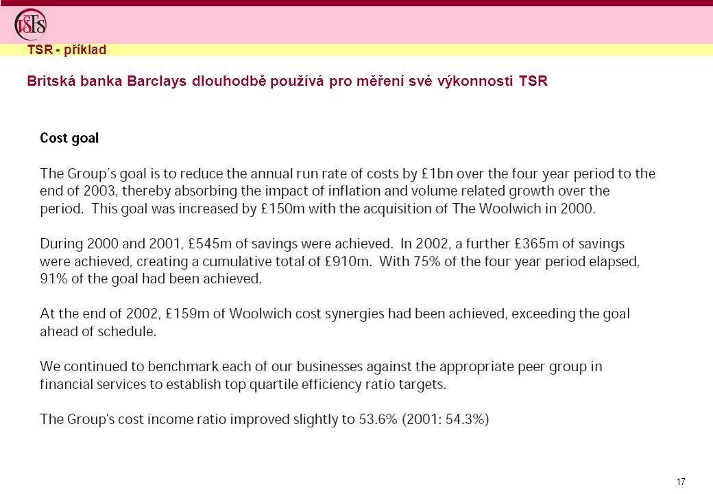 17 Britská banka Barclays dlouhodbě používá pro měření své výkonnosti TSR TSR - příklad