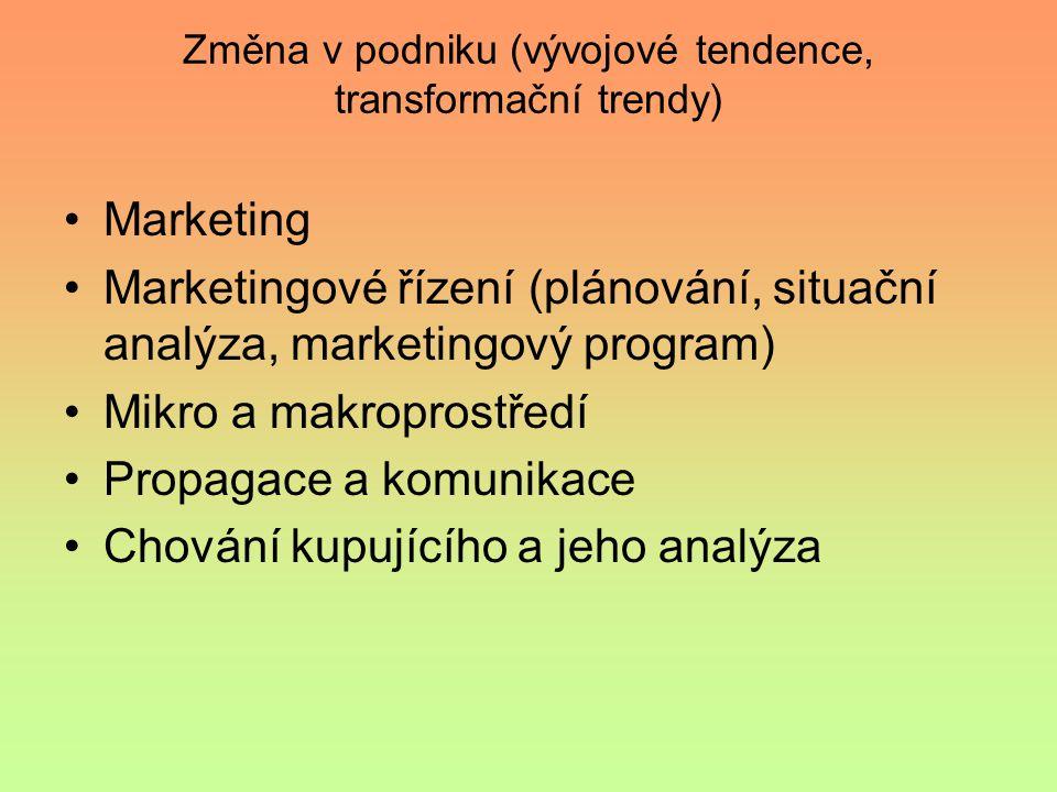 Změna v podniku (vývojové tendence, transformační trendy) Marketing Marketingové řízení (plánování, situační analýza, marketingový program) Mikro a makroprostředí Propagace a komunikace Chování kupujícího a jeho analýza