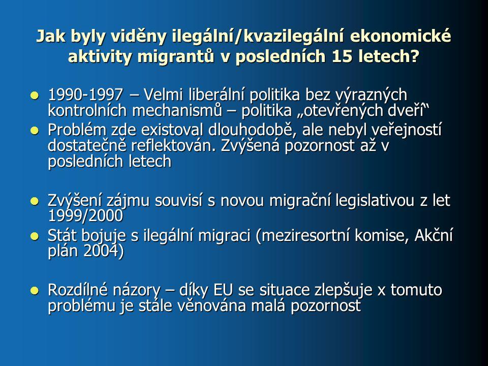 Jak byly viděny ilegální/kvazilegální ekonomické aktivity migrantů v posledních 15 letech? 1990-1997 – Velmi liberální politika bez výrazných kontroln