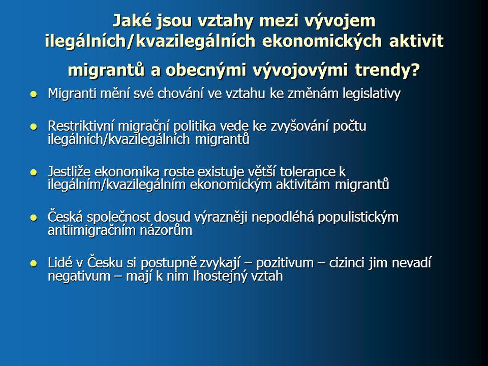 Jaké jsou vztahy mezi vývojem ilegálních/kvazilegálních ekonomických aktivit migrantů a obecnými vývojovými trendy? Migranti mění své chování ve vztah
