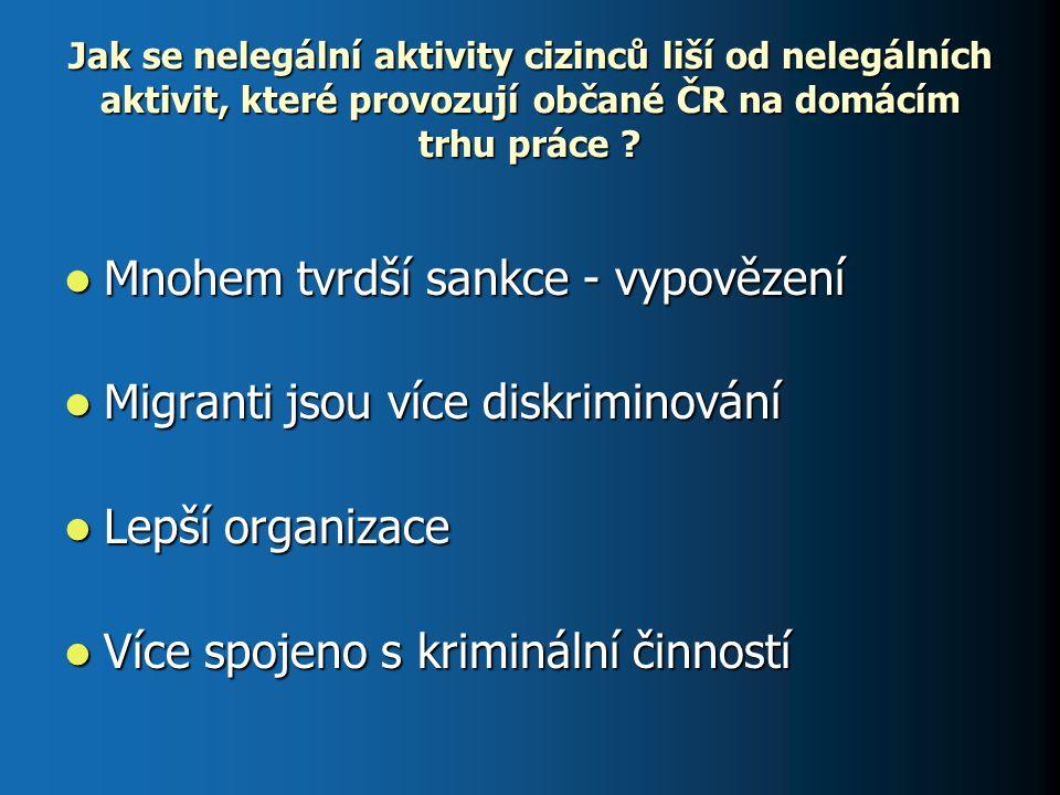 Jak se nelegální aktivity cizinců liší od nelegálních aktivit, které provozují občané ČR na domácím trhu práce ? Mnohem tvrdší sankce - vypovězení Mno
