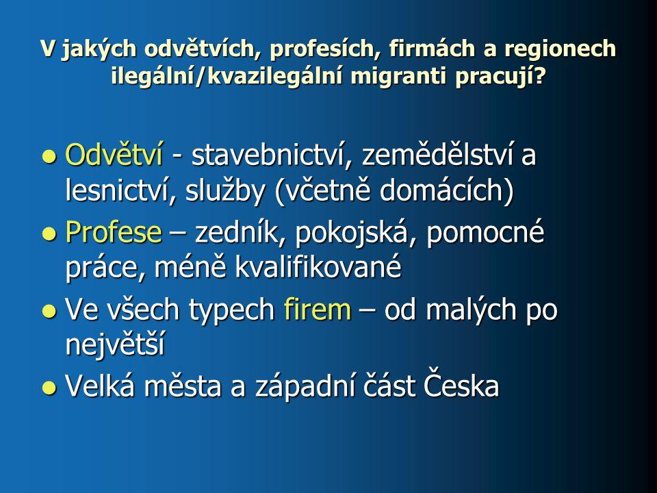 V jakých odvětvích, profesích, firmách a regionech ilegální/kvazilegální migranti pracují? Odvětví - stavebnictví, zemědělství a lesnictví, služby (vč