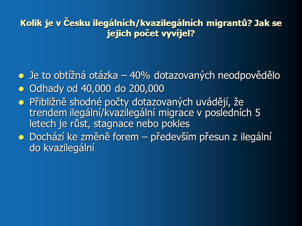 Základní charakteristiky ekonomicky aktivních nelegálních migrantů v Česku Země původu: země bývalého Sovětského svazu – (Ukrajina, Moldavsko, Bělorusko), Bulharsko, Albánie, země bývalé Jugoslávie, Polsko, Afghanistán, Vietnam Čína, USA Země původu: země bývalého Sovětského svazu – (Ukrajina, Moldavsko, Bělorusko), Bulharsko, Albánie, země bývalé Jugoslávie, Polsko, Afghanistán, Vietnam Čína, USA Specializace – Ukrajinci – především stavebnictví, Vietnamci – obchod, západní imigranti – služby (překladatelství, výuka jazyků) Specializace – Ukrajinci – především stavebnictví, Vietnamci – obchod, západní imigranti – služby (překladatelství, výuka jazyků) Pohlaví: Muži lehcepřevládají nad ženami Pohlaví: Muži lehcepřevládají nad ženami Vzdělání: Ukrajinci – většinou střední Vzdělání: Ukrajinci – většinou střední Rodinný status: spíše svobodný, pokud mají rodinu tak zůstává doma Rodinný status: spíše svobodný, pokud mají rodinu tak zůstává doma