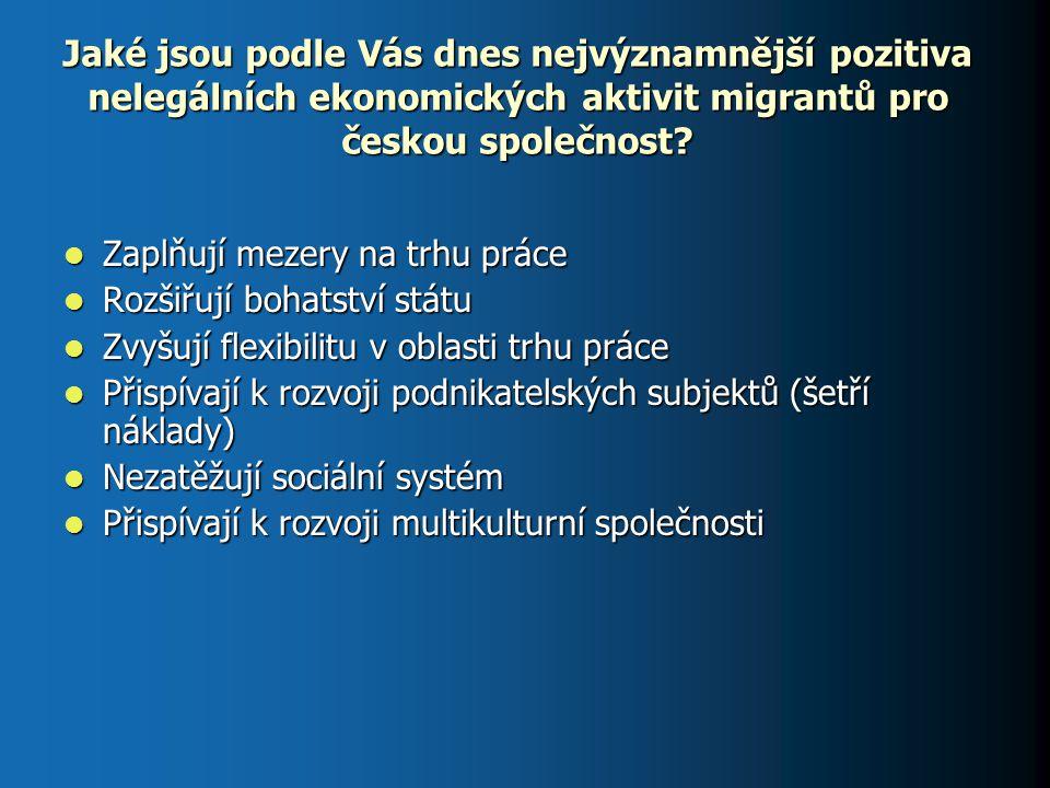 Jaké jsou podle Vás dnes nejvýznamnější pozitiva nelegálních ekonomických aktivit migrantů pro českou společnost? Zaplňují mezery na trhu práce Zaplňu