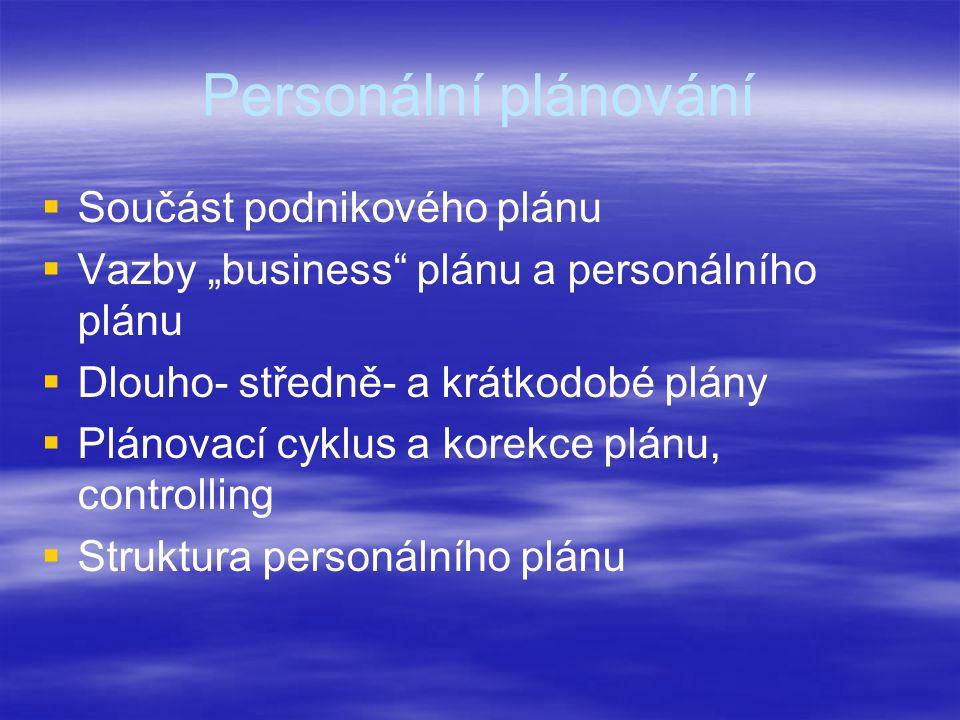 """Personální plánování   Součást podnikového plánu   Vazby """"business plánu a personálního plánu   Dlouho- středně- a krátkodobé plány   Plánovací cyklus a korekce plánu, controlling   Struktura personálního plánu"""