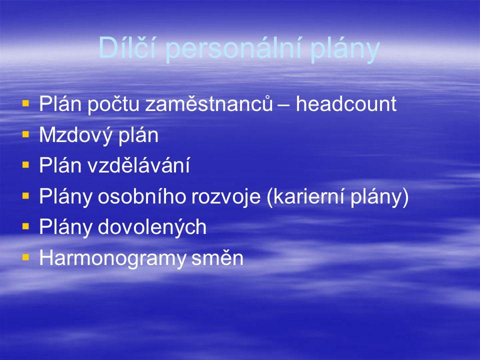 Dílčí personální plány   Plán počtu zaměstnanců – headcount   Mzdový plán   Plán vzdělávání   Plány osobního rozvoje (karierní plány)   Plány dovolených   Harmonogramy směn
