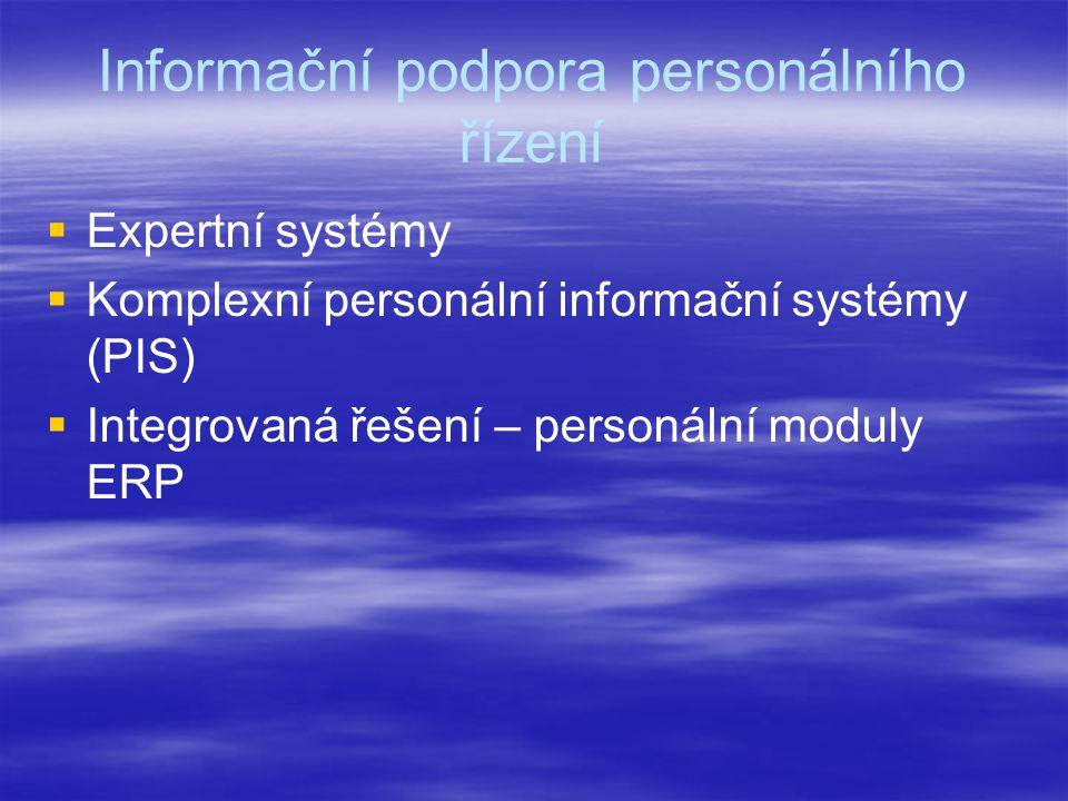 Informační podpora personálního řízení   Expertní systémy   Komplexní personální informační systémy (PIS)   Integrovaná řešení – personální modu