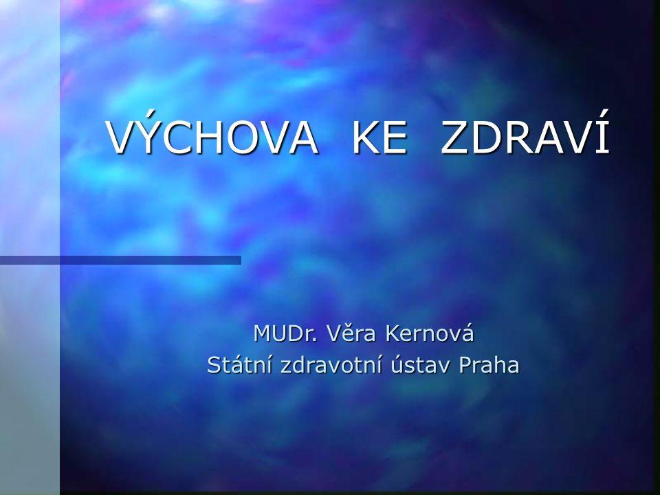 VÝCHOVA KE ZDRAVÍ MUDr. Věra Kernová Státní zdravotní ústav Praha