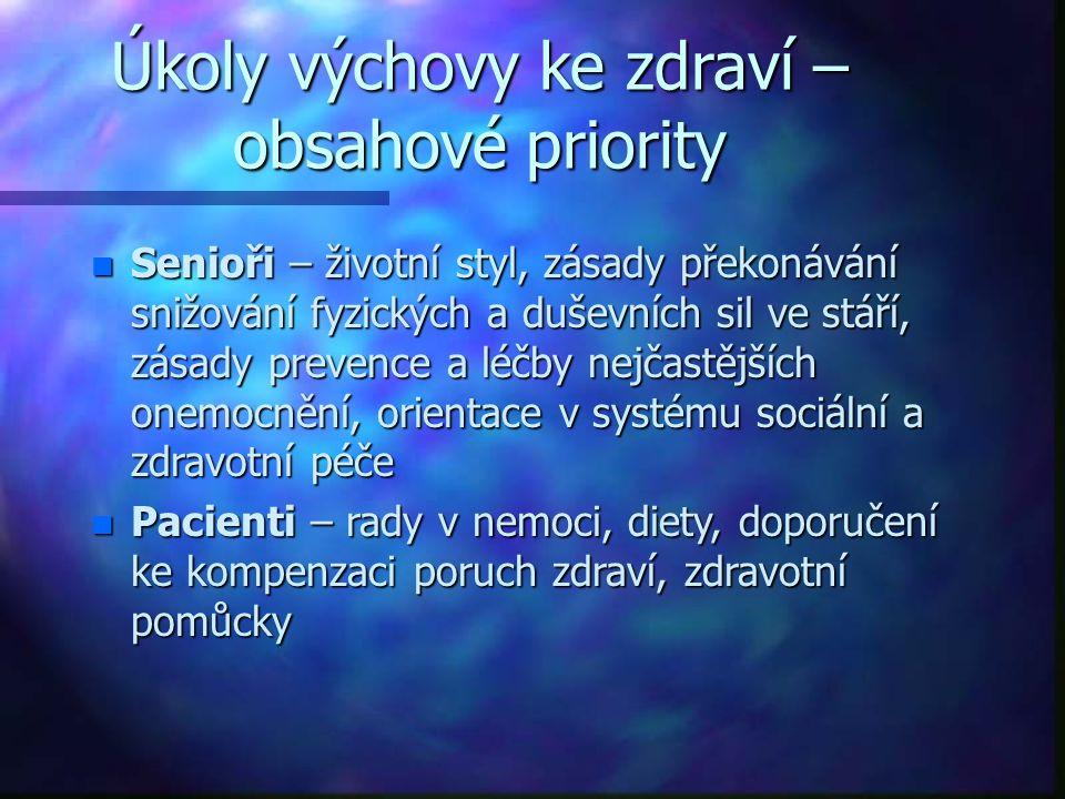 Úkoly výchovy ke zdraví – obsahové priority n Senioři – životní styl, zásady překonávání snižování fyzických a duševních sil ve stáří, zásady prevence
