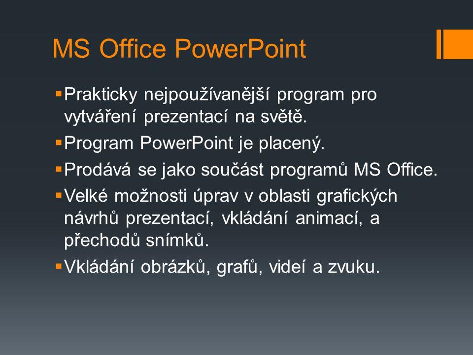 Práce v programu  Základním prvkem prezentačního programu jsou snímky.