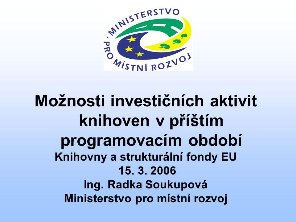 Možnosti investičních aktivit knihoven v příštím programovacím období Knihovny a strukturální fondy EU 15.