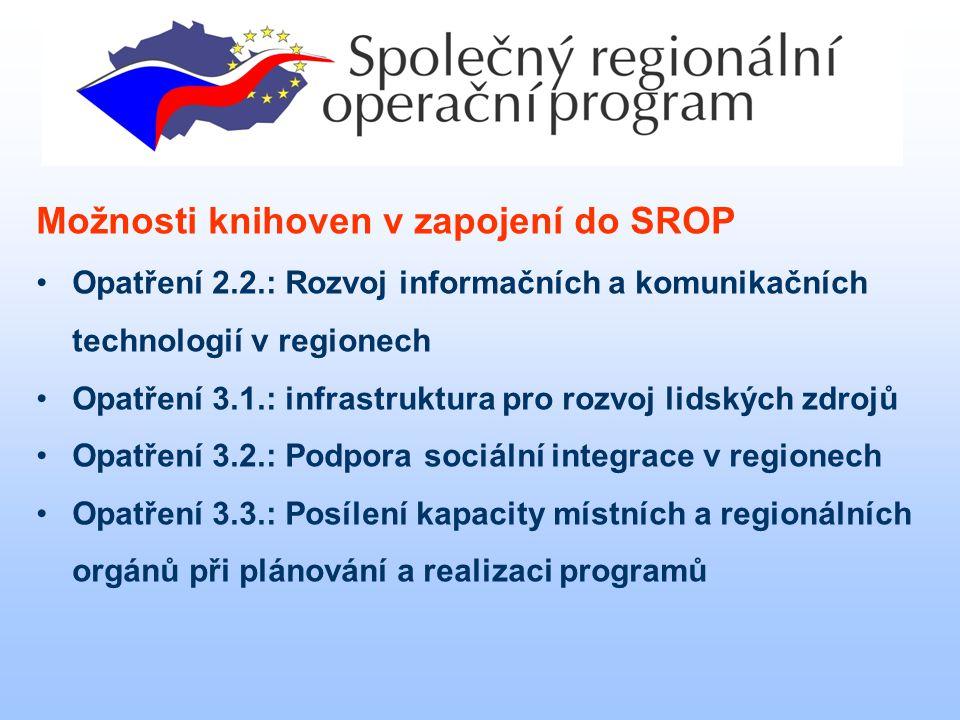 Možnosti knihoven v zapojení do SROP Opatření 2.2.: Rozvoj informačních a komunikačních technologií v regionech Opatření 3.1.: infrastruktura pro rozvoj lidských zdrojů Opatření 3.2.: Podpora sociální integrace v regionech Opatření 3.3.: Posílení kapacity místních a regionálních orgánů při plánování a realizaci programů Možnosti knihoven při čerpání prostředků ze SROP