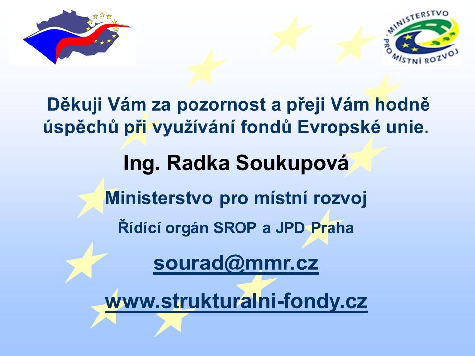 Děkuji Vám za pozornost a přeji Vám hodně úspěchů při využívání fondů Evropské unie.