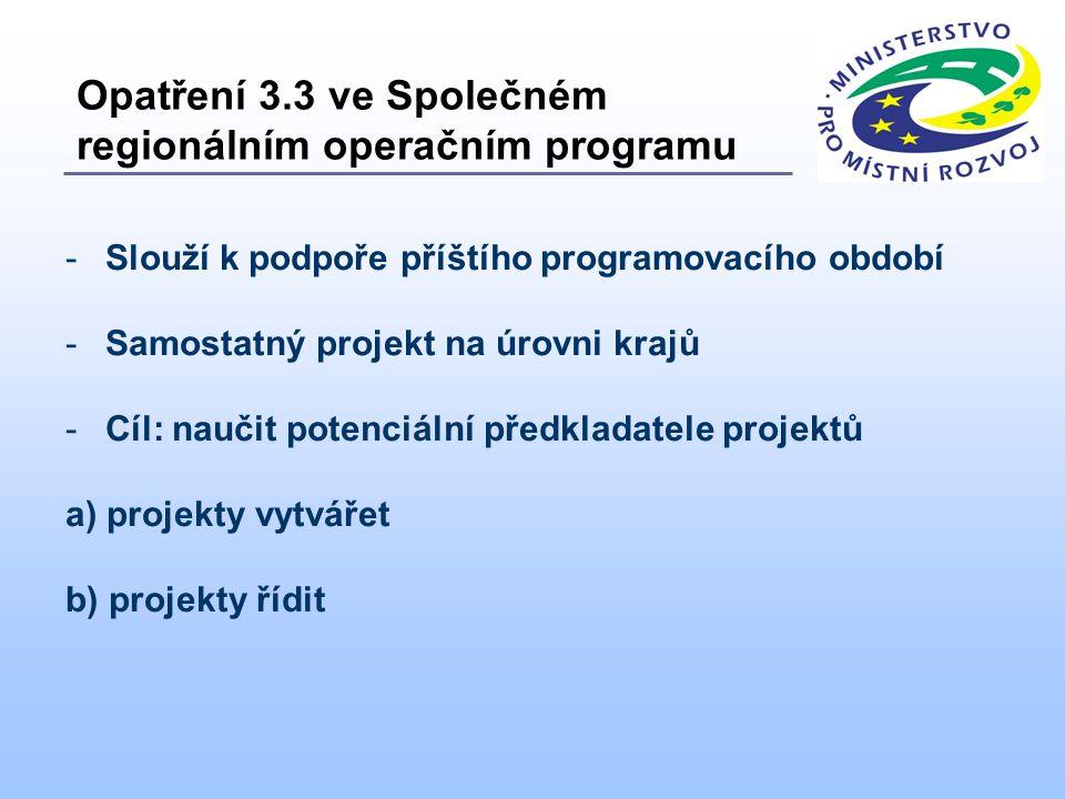 -Slouží k podpoře příštího programovacího období -Samostatný projekt na úrovni krajů -Cíl: naučit potenciální předkladatele projektů a) projekty vytvářet b) projekty řídit Opatření 3.3 ve Společném regionálním operačním programu