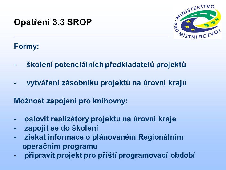 Formy: - školení potenciálních předkladatelů projektů - vytváření zásobníku projektů na úrovni krajů Možnost zapojení pro knihovny: - oslovit realizátory projektu na úrovni kraje - zapojit se do školení - získat informace o plánovaném Regionálním operačním programu - připravit projekt pro příští programovací období Opatření 3.3 SROP