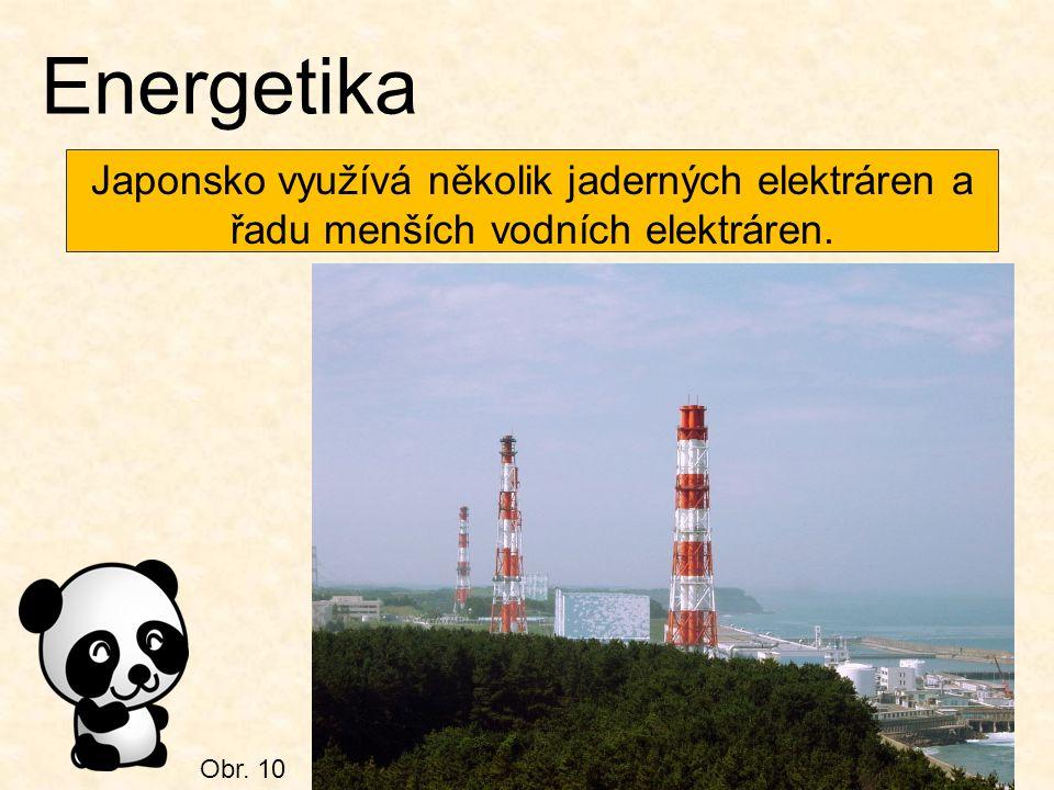 Obr. 10 Energetika Japonsko využívá několik jaderných elektráren a řadu menších vodních elektráren.
