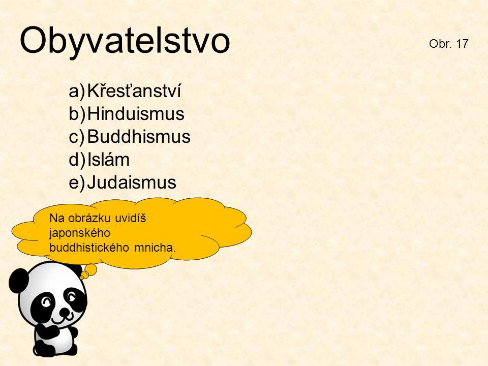 Zkus podle obrázku a nápovědy určit typy náboženství v Japonsku. Obr. 17 Obyvatelstvo a)Křesťanství b)Hinduismus c)Buddhismus d)Islám e)Judaismus Na o