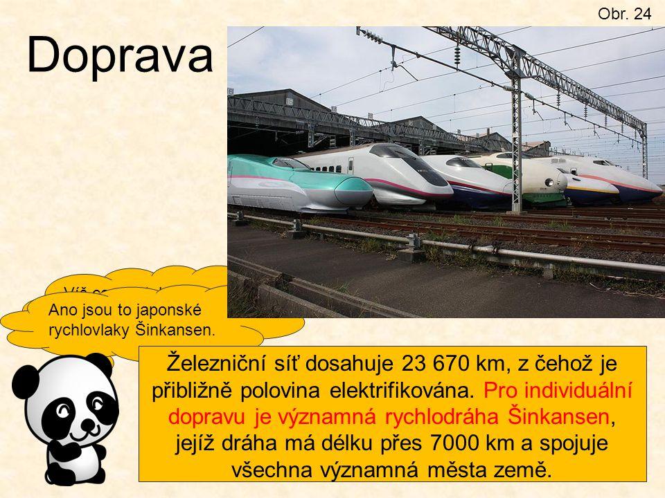 Obr. 24 Doprava Víš co se stalo symbolem japonské dopravy? Ano jsou to japonské rychlovlaky Šinkansen. Železniční síť dosahuje 23 670 km, z čehož je p