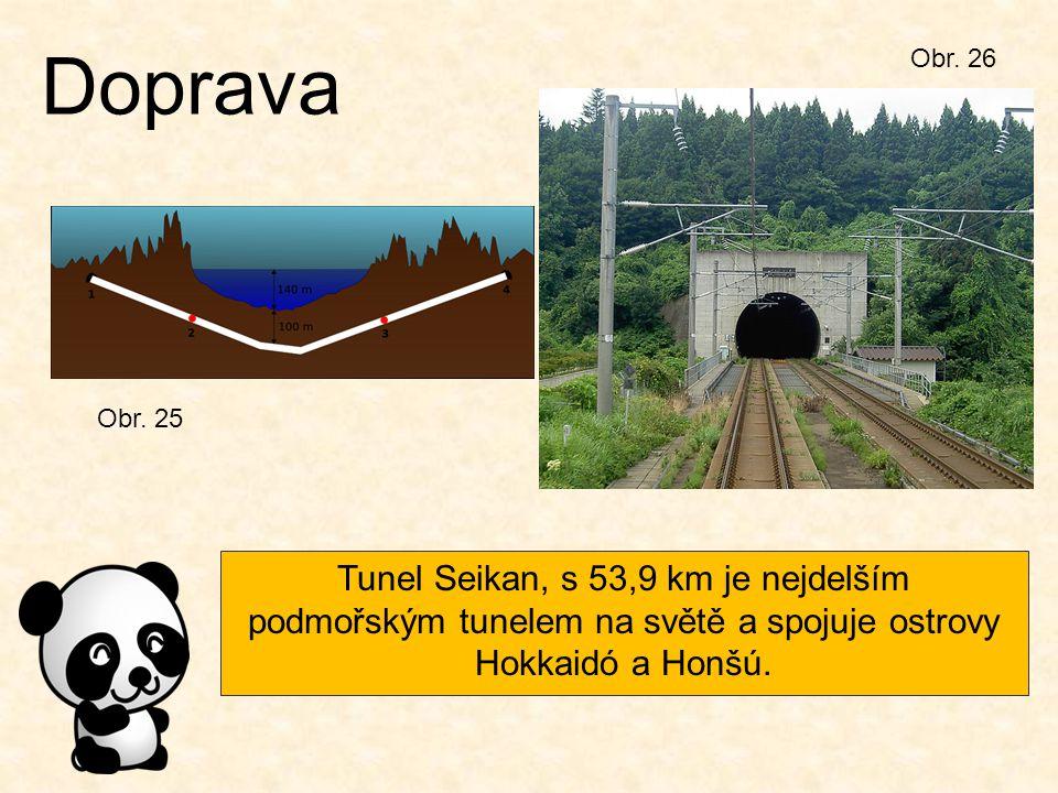 Obr. 25 Doprava Tunel Seikan, s 53,9 km je nejdelším podmořským tunelem na světě a spojuje ostrovy Hokkaidó a Honšú. Obr. 26