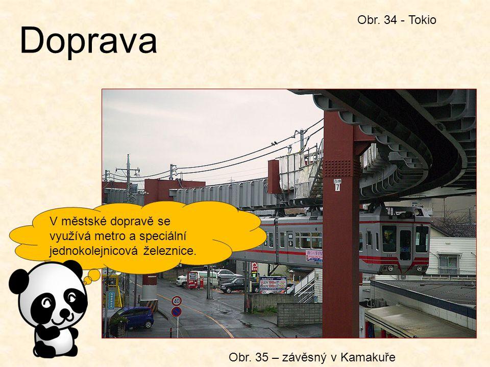 Doprava Obr. 34 - Tokio V městské dopravě se využívá metro a speciální jednokolejnicová železnice. Obr. 35 – závěsný v Kamakuře