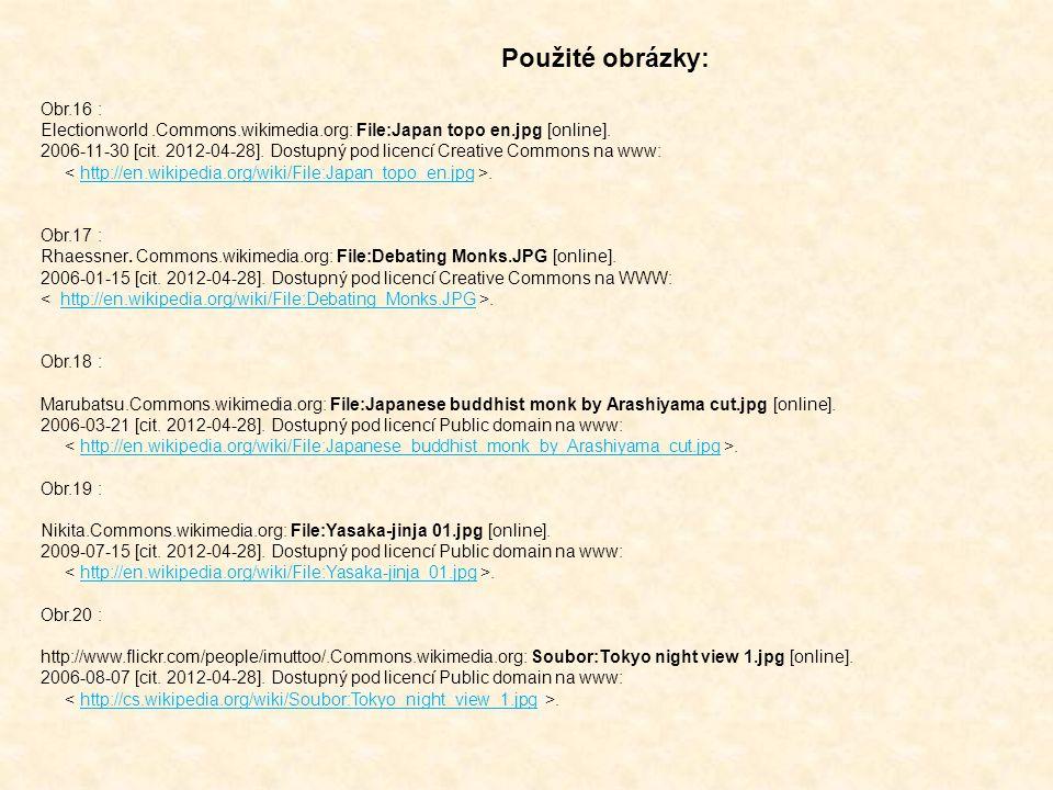 Obr.16 : Electionworld.Commons.wikimedia.org: File:Japan topo en.jpg [online]. 2006-11-30 [cit. 2012-04-28]. Dostupný pod licencí Creative Commons na