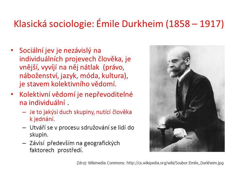 Klasická sociologie: Émile Durkheim (1858 – 1917) Sociální jev je nezávislý na individuálních projevech člověka, je vnější, vyvíjí na něj nátlak (práv