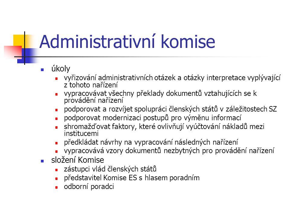 Administrativní komise úkoly vyřizování administrativních otázek a otázky interpretace vyplývající z tohoto nařízení vypracovávat všechny překlady dokumentů vztahujících se k provádění nařízení podporovat a rozvíjet spolupráci členských států v záležitostech SZ podporovat modernizaci postupů pro výměnu informací shromažďovat faktory, které ovlivňují vyúčtování nákladů mezi institucemi předkládat návrhy na vypracování následných nařízení vypracovává vzory dokumentů nezbytných pro provádění nařízení složení Komise zástupci vlád členských států představitel Komise ES s hlasem poradním odborní poradci