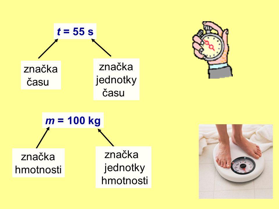 t = 55 s značka času značka jednotky času m = 100 kg značka hmotnosti značka jednotky hmotnosti