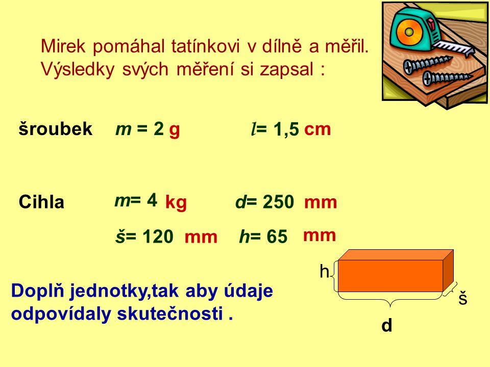 Mirek pomáhal tatínkovi v dílně a měřil. Výsledky svých měření si zapsal : šroubekm = 2 l = 1,5 Cihla m= 4 d= 250 š= 120h= 65 d š h Doplň jednotky,tak