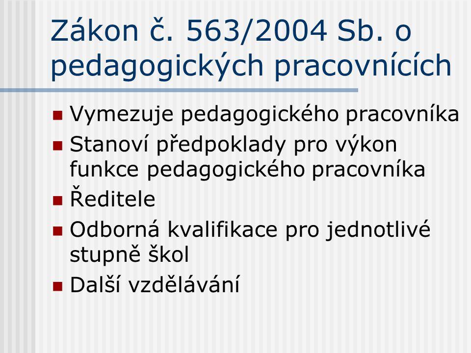 Zákon č. 563/2004 Sb. o pedagogických pracovnících Vymezuje pedagogického pracovníka Stanoví předpoklady pro výkon funkce pedagogického pracovníka Řed