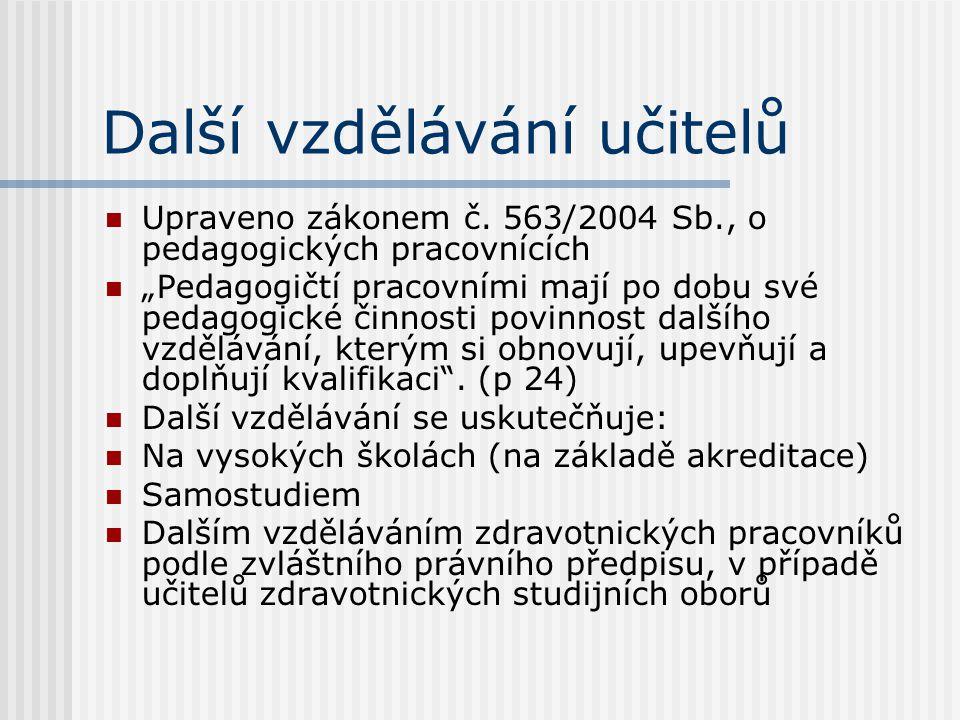 """Další vzdělávání učitelů Upraveno zákonem č. 563/2004 Sb., o pedagogických pracovnících """"Pedagogičtí pracovními mají po dobu své pedagogické činnosti"""