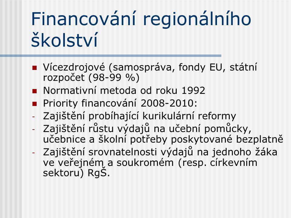 Financování regionálního školství Vícezdrojové (samospráva, fondy EU, státní rozpočet (98-99 %) Normativní metoda od roku 1992 Priority financování 20