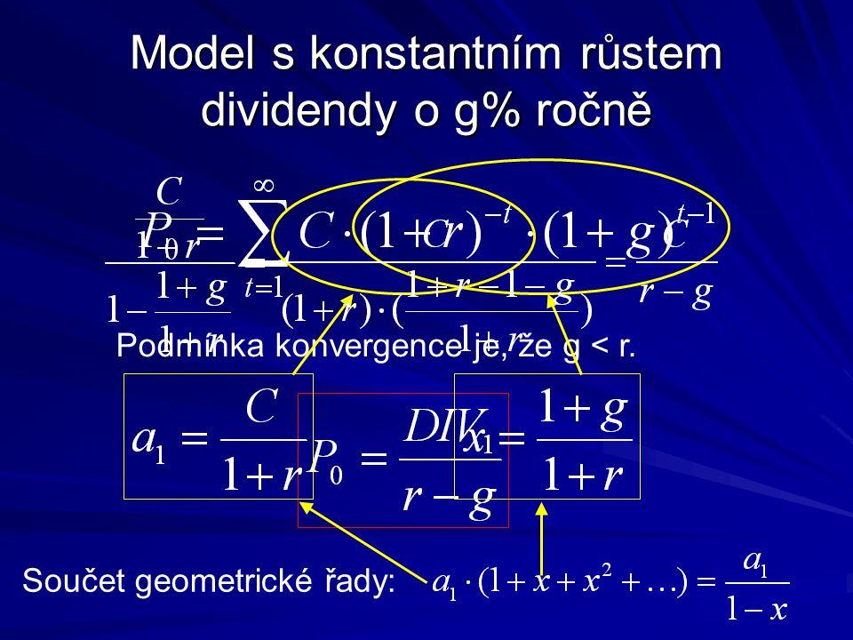 Model s konstantním růstem dividendy o g% ročně Podmínka konvergence je, že g < r. Součet geometrické řady: