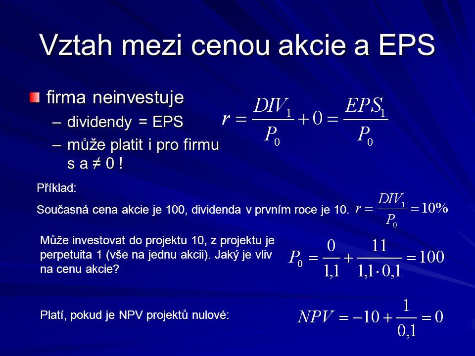 Vztah mezi cenou akcie a EPS firma neinvestuje –dividendy = EPS –může platit i pro firmu s a ≠ 0 ! Příklad: Současná cena akcie je 100, dividenda v pr
