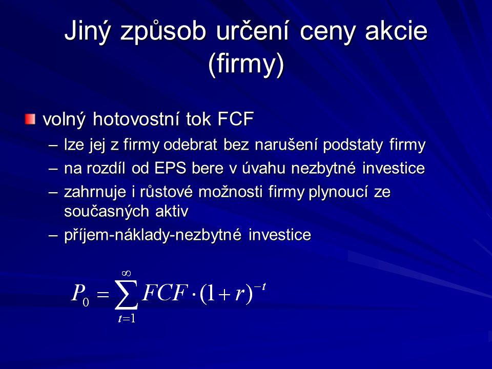Jiný způsob určení ceny akcie (firmy) volný hotovostní tok FCF –lze jej z firmy odebrat bez narušení podstaty firmy –na rozdíl od EPS bere v úvahu nez