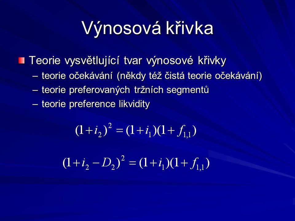Výnosová křivka Teorie vysvětlující tvar výnosové křivky –teorie očekávání (někdy též čistá teorie očekávání) –teorie preferovaných tržních segmentů –