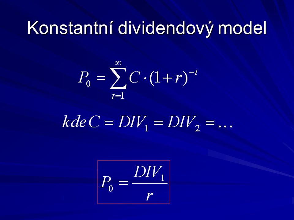 Model s konstantním růstem dividendy o g% ročně Podmínka konvergence je, že g < r.