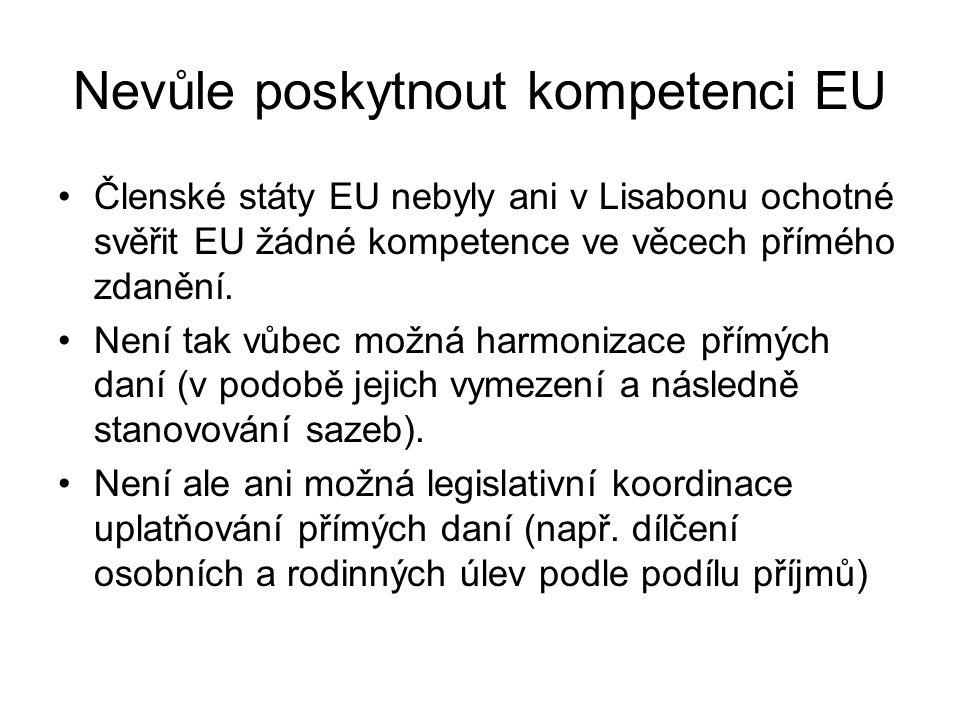 Nevůle poskytnout kompetenci EU Členské státy EU nebyly ani v Lisabonu ochotné svěřit EU žádné kompetence ve věcech přímého zdanění.