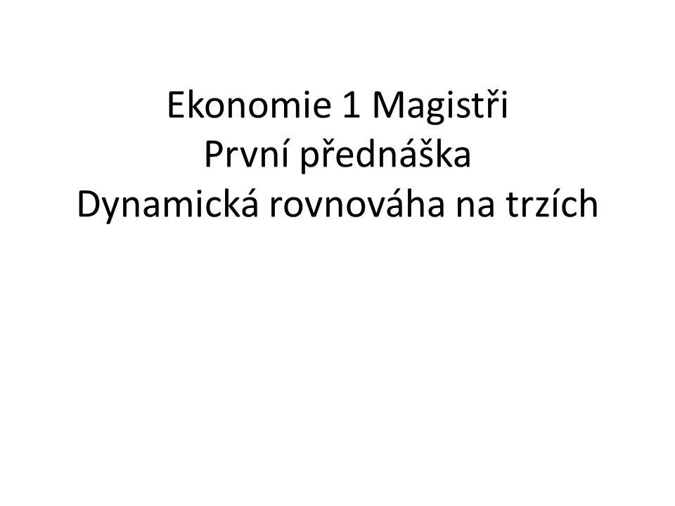Ekonomie 1 Magistři První přednáška Dynamická rovnováha na trzích