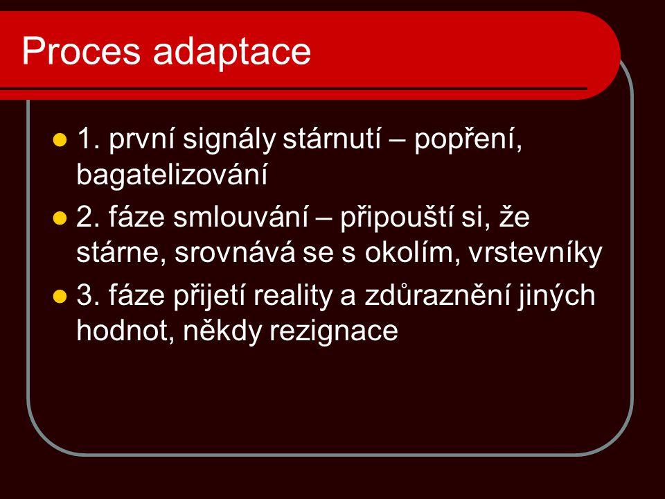 Proces adaptace 1. první signály stárnutí – popření, bagatelizování 2. fáze smlouvání – připouští si, že stárne, srovnává se s okolím, vrstevníky 3. f